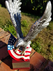 "Personalized Engraved 10"" Eagle and Flag on Resin Base, Military Award, Eagle Scout Trophy, Boy Scout Award, Eagle on Flag Corporate Award"