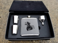 Personalized Engraved 6 oz. Leather Flask Set