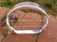 "Beautiful Personalized Engraved 3 1/2"" Gold Acrylic Circle, Acrylic Award, Corporate Award, Corporate Gift, Employee Award"