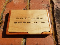 Personalized Engraved Maple/Rosewood Finish Business Card Case, Engraved Card Case, Wood Business Card Holder, Wedding Gift, Groomsman Gift