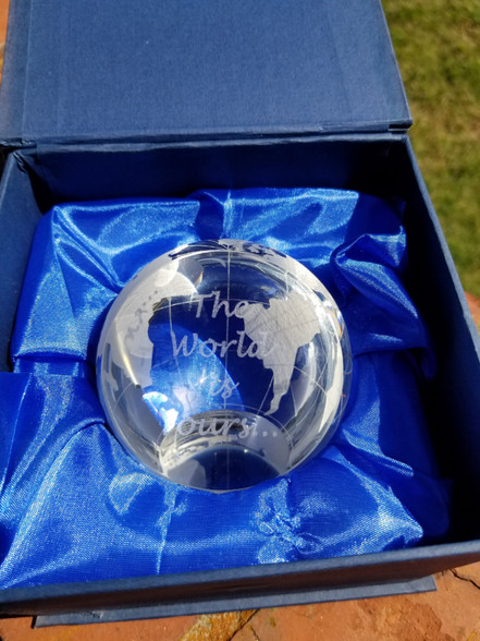 "Personalized Engraved 3"" Crystal Globe Paperweight, Home Decor, Crystal Gift, Office Gift, Wedding Gift, Retirement Gift"