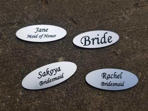Personalized Engraved Wedding Plastic Name Tags Name Badges, Wedding Party Name Tags, Wedding Gift Name Badges