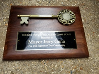 Personalized Engraved 9x12 Key to the City Walnut Plaque, Corporate Award, Boss Award, City Award, Politician Award, Judge Award