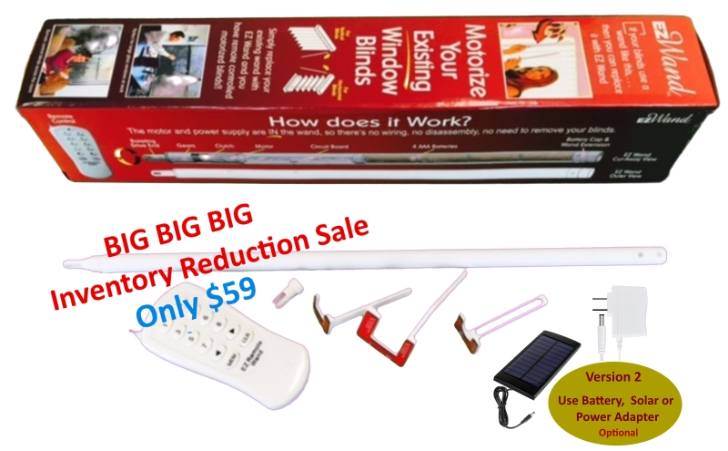 Red box Single Alt-Text  Motorized Blinds - EzWand Package