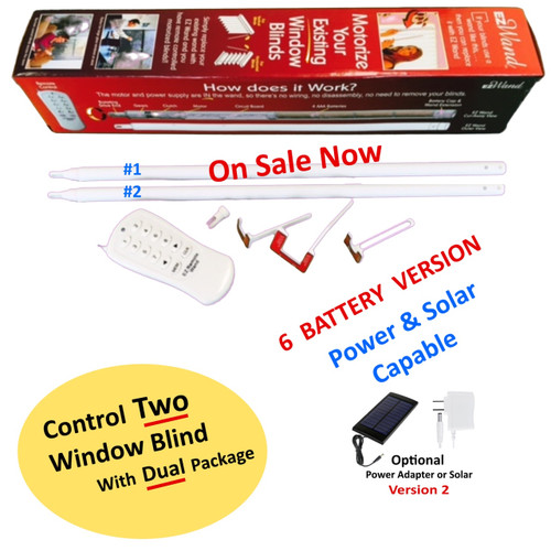 EzWand Dual Package (EzW-s6002)control for two blinds, it will motorize and automate your existing horizontal and vertical window blinds simply by replacing the wand a DIY window blind's remote control package. it is portable, simple and Affordable Smart Blinds