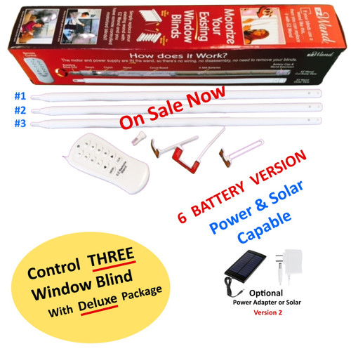 EzWand Deluxe package (item EzW-s6003)to control three blinds, it will motorize and automate your existing horizontal and vertical window blinds simply by replacing the wand a DIY window blind's remote control package. it is portable, simple and Affordable. No special tool is necessary Smart Blinds