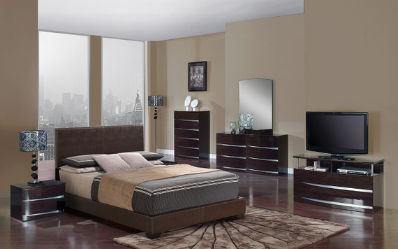 8103-BR / AURORA  Brown PU Bed/Wenge