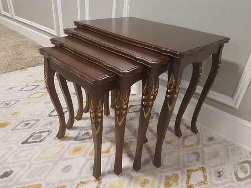 MFS142G Nesting Table - Walnut with Gold