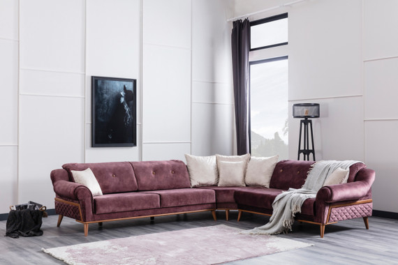 Ottowa Sleeper Sectional - Burgundy