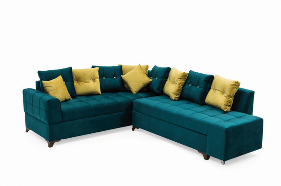 Sirma Sleeper Sectional with Storage - Teal