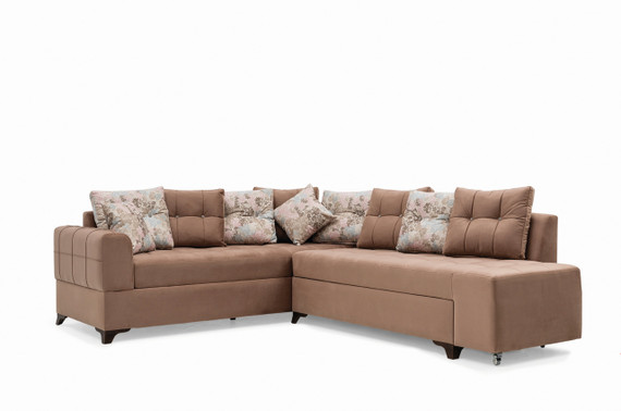 Sirma Sleeper Sectional with Storage - Brown