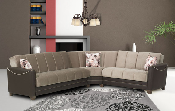 Catherine Sleeper Sectional with Storage - Beige / Brown