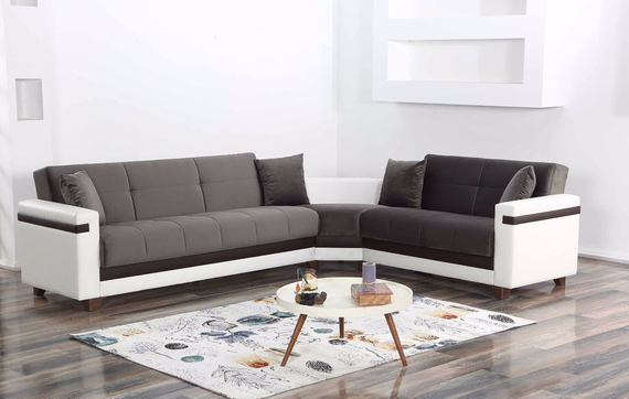 Moon Sleeper Sectional with Storage - Gray/White