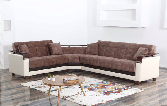 Natural Sleeper Sectional with Storage - Truffle / Cream