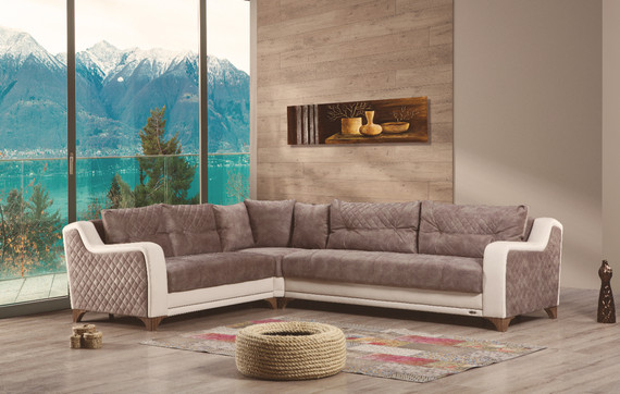 Sophia Sleeper Sectional with Storage - Mink