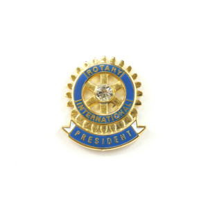Rotary President Lapel Pin with Stone