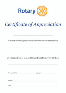 Rotary Appreciation Certificate
