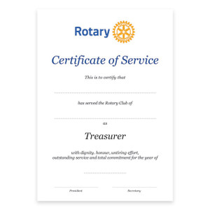Rotary Past Treasurer Certificate