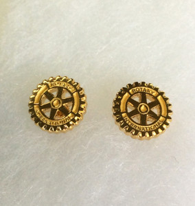 Gold Plated Pierced Rotary Emblem Earrings