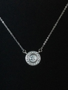 Rhinestone Circle necklace - silver