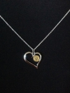 Silver Heart with Gold RI logo necklace