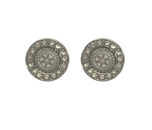 Rhinestone Rotary Logo Earrings - Silvertone