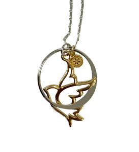 Gold/Silver Dove in Circle Necklace