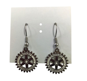 "Pair of 5/8"" Silver Finish Rotary Charm Earrings"