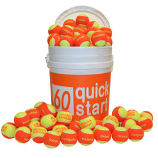 """Quick Start 60"" Orange Felt Balls w/ Slogans - 72 Ball Bucket"