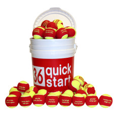 """Quick Start 36"" Red Felt Balls w/ Slogans - 24 Ball Bucket"