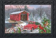 Winter Covered Bridge Doormat