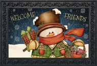 Welcome Friends Snowman Doormat