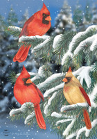 Winter Cardinal Trio House Flag