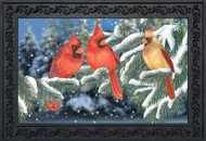 Winter Cardinal Trio Doormat