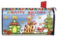 Happy Holidays Dog Mailbox Cover