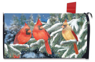 Winter Cardinal Trio Mailbox Cover