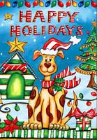 Happy Holidays Dog House Flag