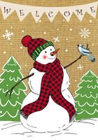 Welcome Snowman Burlap Garden Flag