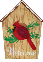 Cardinal Birdhouse Applique Garden Flag