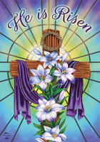 Easter Cross Religious Garden Flag