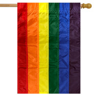 Rainbow Embroidered House Flag