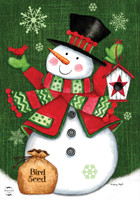 Snowman and Birdhouse Garden Flag