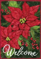 """Holiday Poinsettia Christmas Garden Flag Welcome Floral 12.5""""x18"""" Briarwood Lane"""