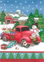 "Festive Truck Christmas Garden Flag Snowman Presents 12.5"" x 18"" Briarwood Lane"