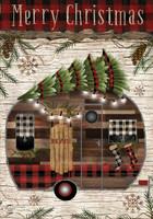 "Merry Christmas Camper Primitive Garden Flag Fir Trees 12.5""x18"" Briarwood Lane"