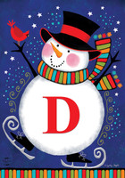 Winter Snowman Monogram Letter D Garden Flag