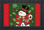 Snowman and Birdhouse Doormat