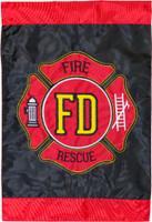 Fire Department Applique & Embroidered Garden Flag