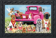 "Happy Valentine's Dogs Doormat Puppy Love Humor Indoor Outdoor 18"" x 30"""