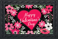 "Happy Valentine's Floral Doormat Love Heart Indoor Outdoor 18"" x 30"""